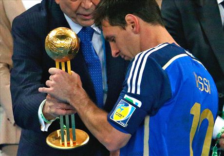 Leo Messi Golden Ball Trophy World Cup Brazil 2014