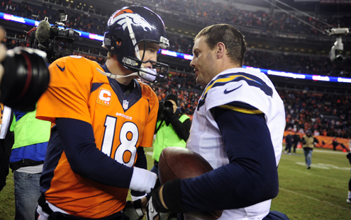 DENVER, CO - DECEMBER 12: Denver Broncos quarterback Peyton Manning (18) shakes hands with San Diego Chargers quarterback Philip Rivers (17) after the Broncos lost to the Chargers 27 to 20.  The Denver Broncos vs. the San Diego Chargers at Sports Authority Field at Mile High in Denver on December 12, 2013. (Photo by AAron Ontiveroz/The Denver Post)